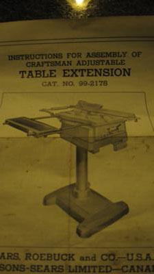 Craftsman Table Saw Model # 113.29991